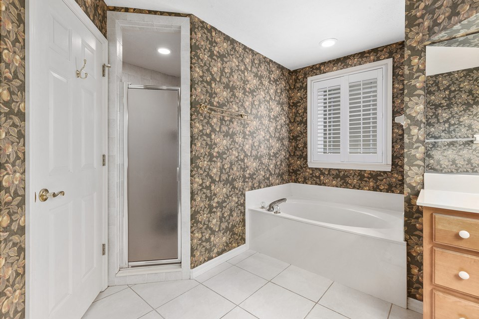 walk-in shower and water closet