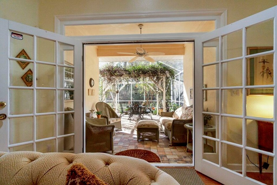 french doors to covered lanai