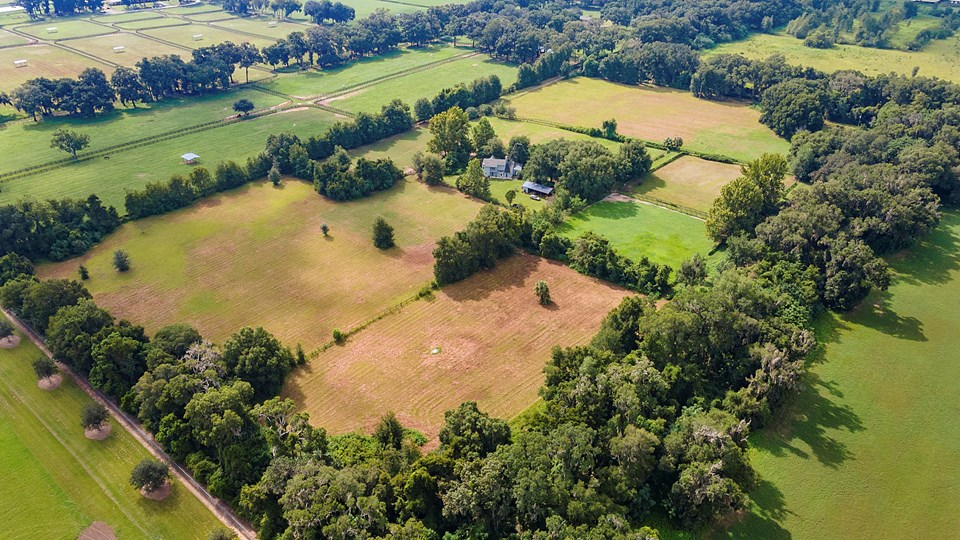 aerial view of the 24 acre farm