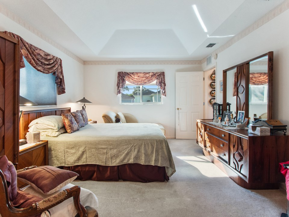 spacious main bedroom with tray ceiling