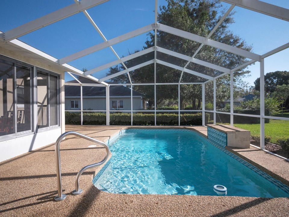 private inground, screened pool